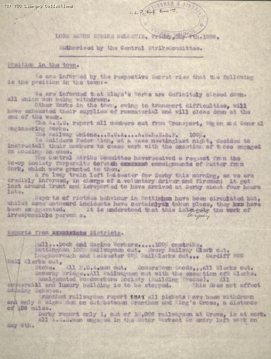 Report - Long Eaton Strike Bulletin, 7 May 1926