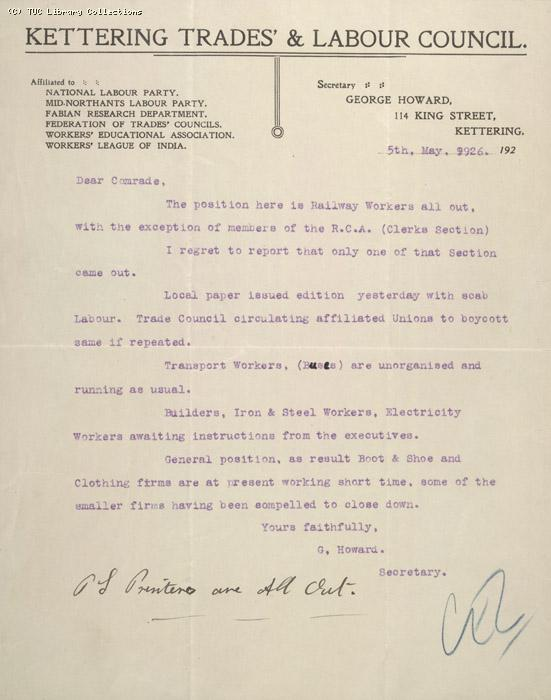 Letter - Kettering Trades & Labour Council, 5 May 1926