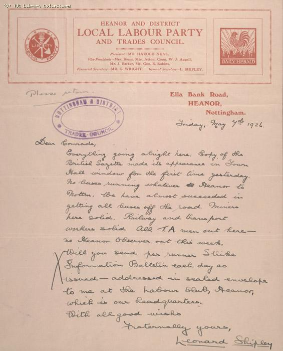 Letter - Heanor & District Local Labour Party and Trades Council, 7 May 1926