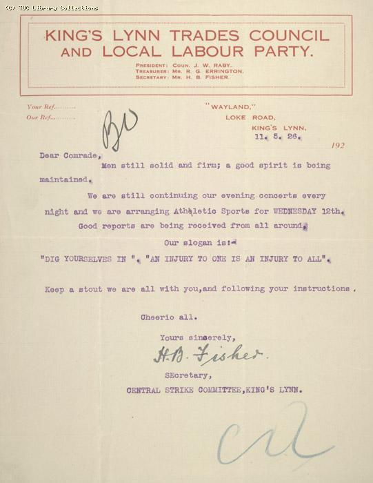Letter - Kings Lynn Trades Council and Local Labour Party, 11 May 1926
