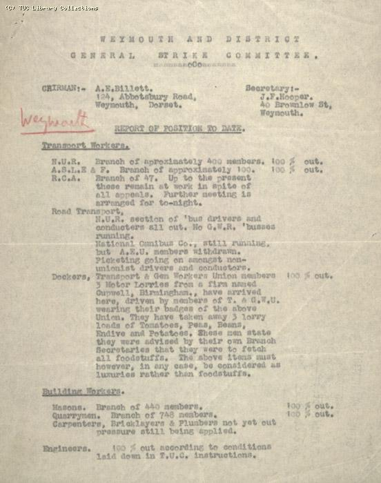 Report - Weymouth & District General Strike Committee, received 7 May 1926