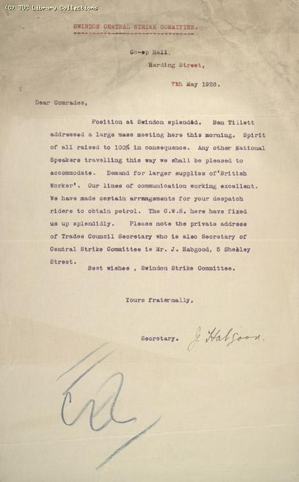Letter - Swindon Central Strike Committee, 7 May 1926