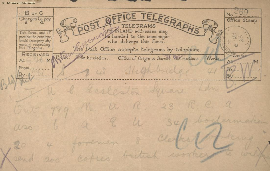 Telegram - Highbridge, 6 May 1926