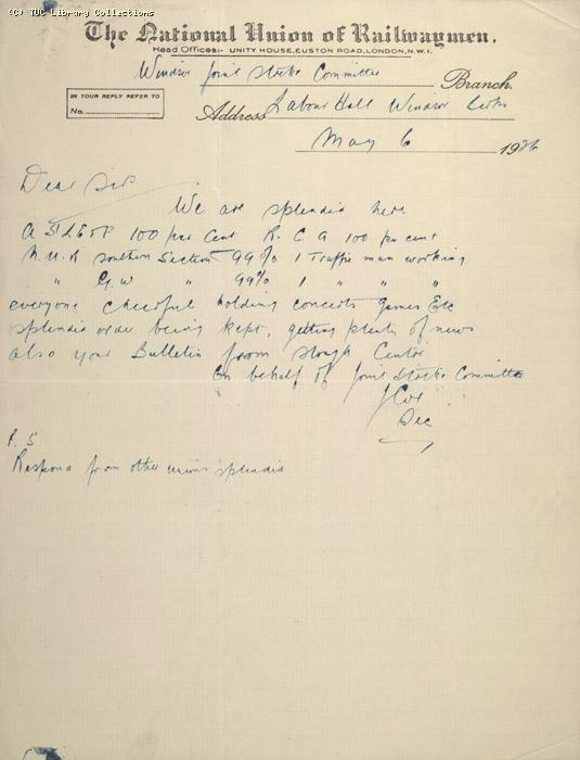 Letter - NUR, Windsor Joint Strike Committee, 6 May 1926