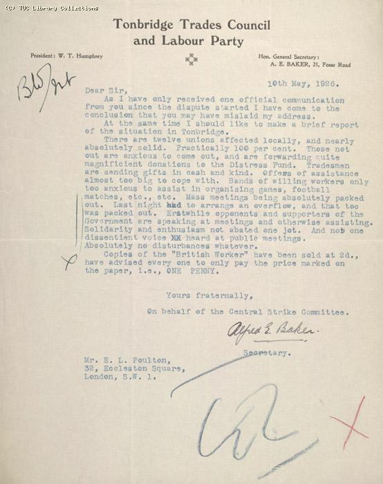Letter - Tonbridge Trades Council and Labour Party, 10 May 1926