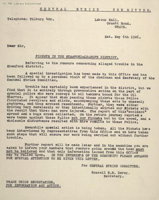 Letter - Central Strike Committee, Tilbury, 6 May 1926
