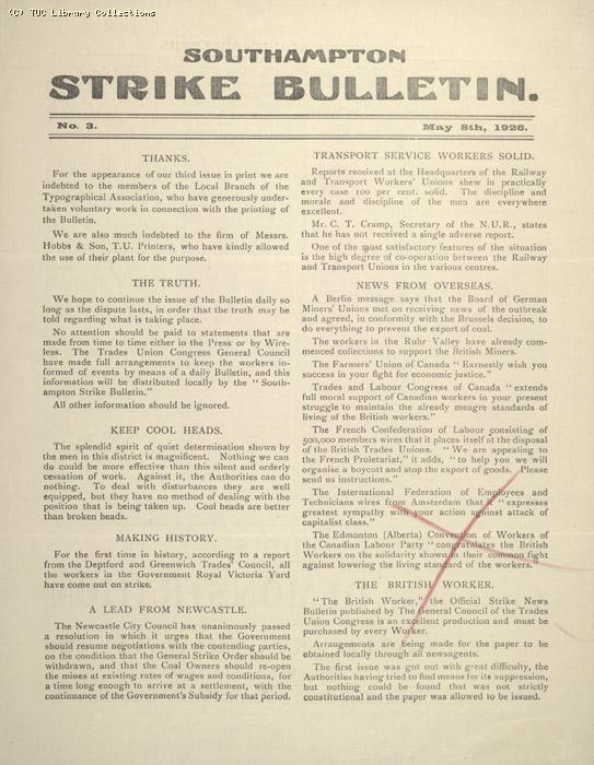 Southampton Strike Bulletin, 8 May 1926