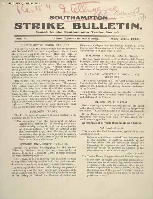 Southampton Strike Bulletin, 11 May 1926