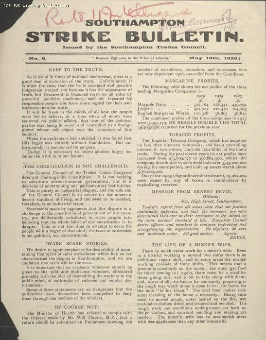 Southampton Strike Bulletin, 10 May 1926