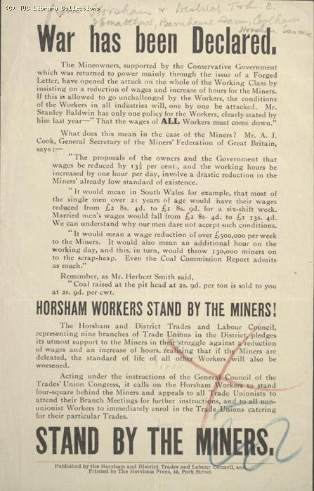 Leaflet - Horsham and District Trades and Labour Council, 9 May 1926