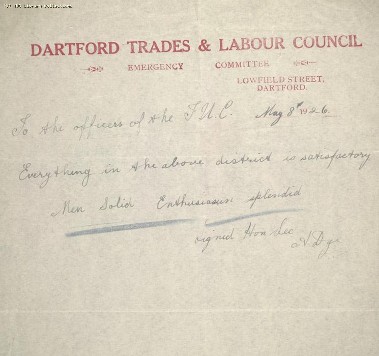 Letter, Dartford Trades and Labour Council, 8 May 1926