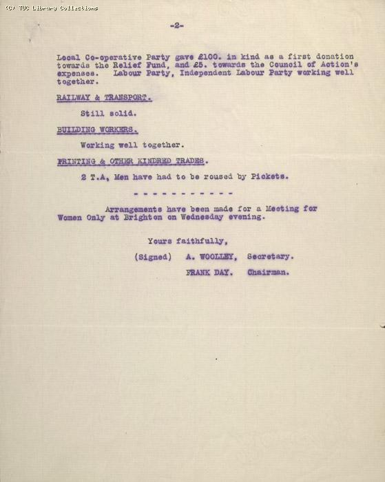 Letter, Brighton & District Council of Action, 11 May 1926