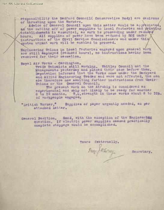 Letter - Bedford Labour Party Industrial Committee, 5 May 1926
