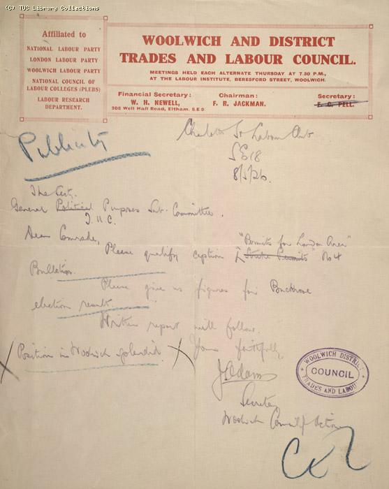 Letter - Woolwich and District Trades and Labour Club, 8 May 1926