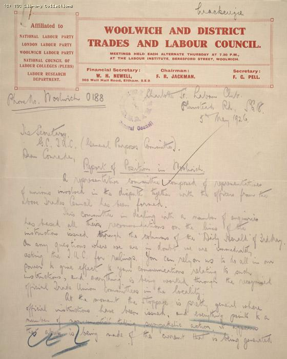 Letter - Woolwich and District Trades and Labour Club, 5 May 1926