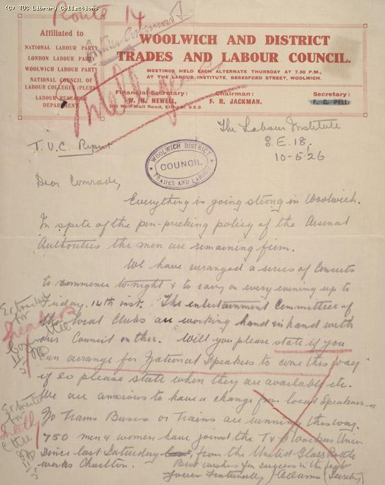 Letter - Woolwich and District Trades and Labour Club, 10 May 1926