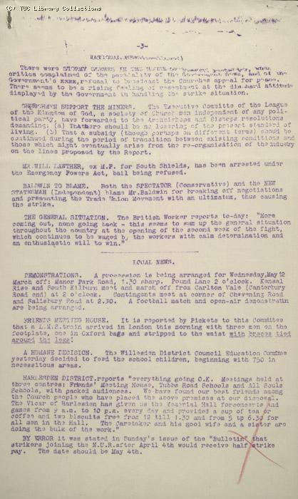 Strike Bulletin No. 6, Willesden Central Council of Action, 11 May 1926