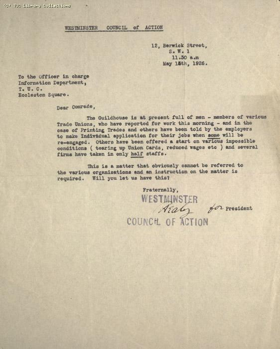 Letter - Westminster Council of Action, 1? May 1926