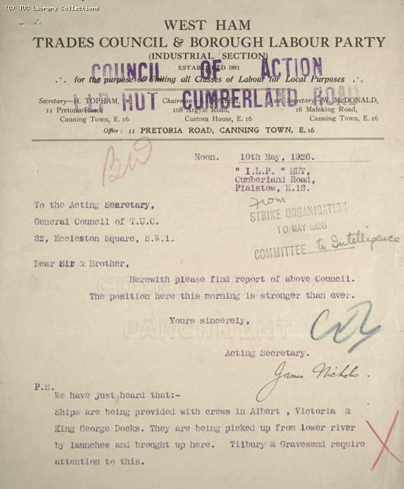 Letter - West Ham Trades Council and Borough Labour Party, 10 May 1926
