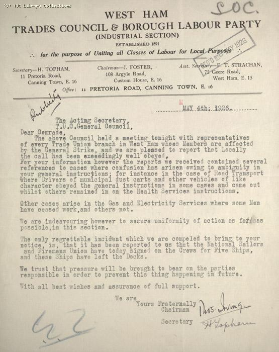 Letter - West Ham Trades Council and Borough Labour Party, 4 May 1926
