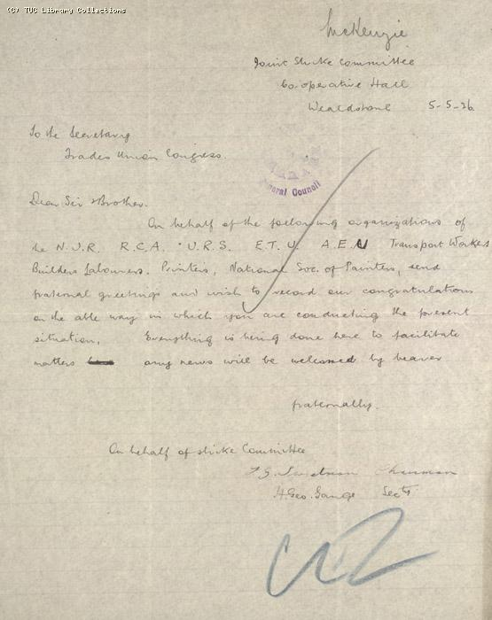 Letter - Joint Strike Committee, Wealdstone, 5 May 1926