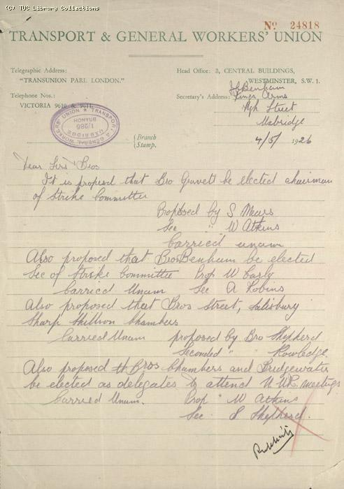 Letter - T & GWU, Uxbridge, 4 May 1926