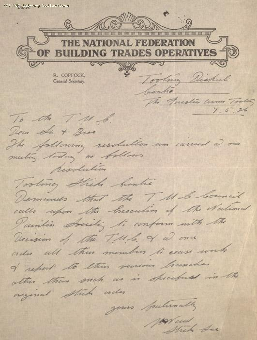 Letter - National Federation of Building Trades Operatives, Tooting, 7 May 1926