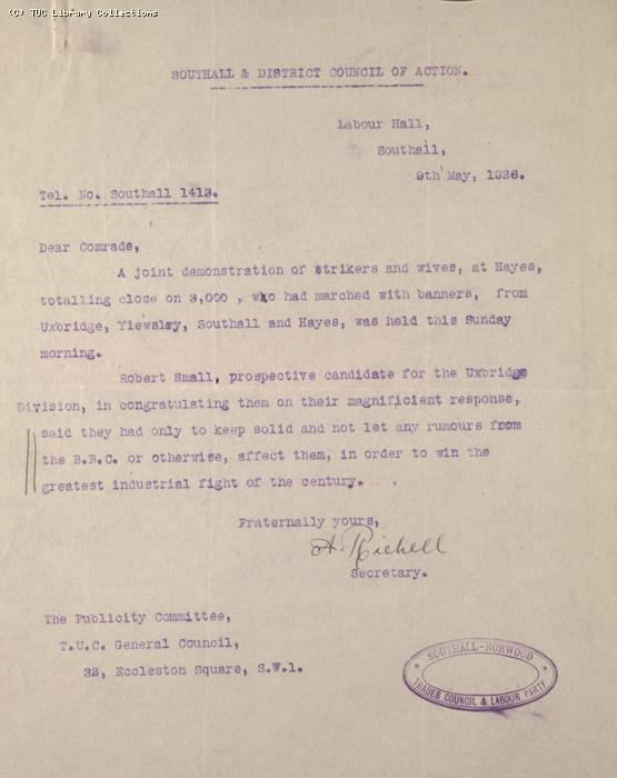 Letter - Southall and District Council of Action, 9 May 1926 (2)