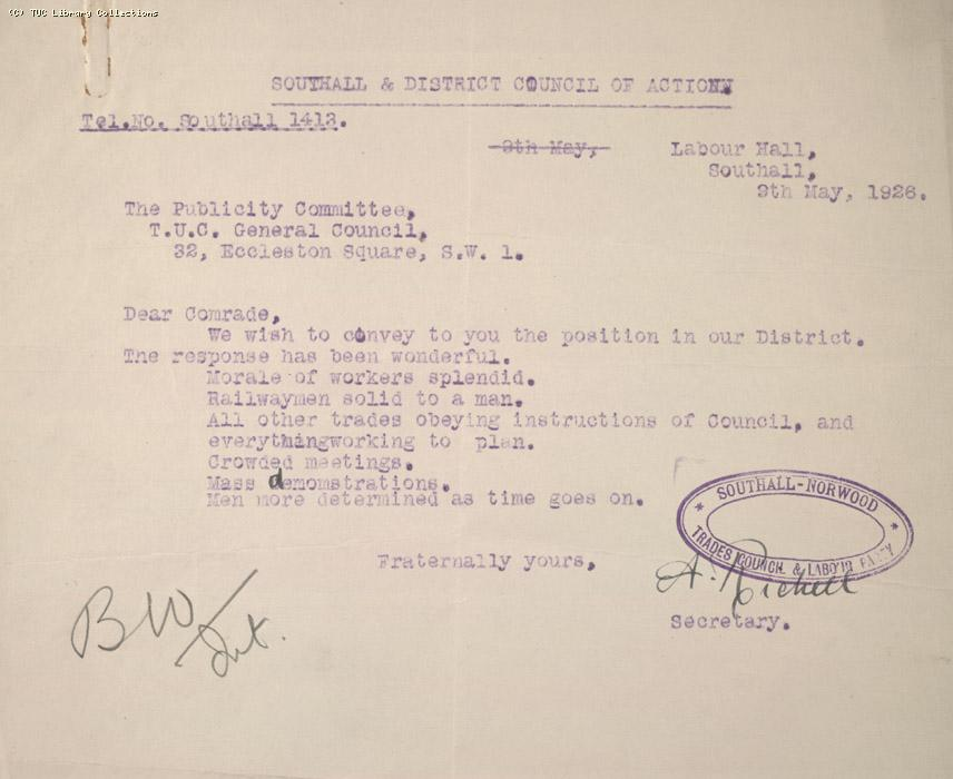 Letter - Southall and District Council of Action, 9 May 1926 (1)