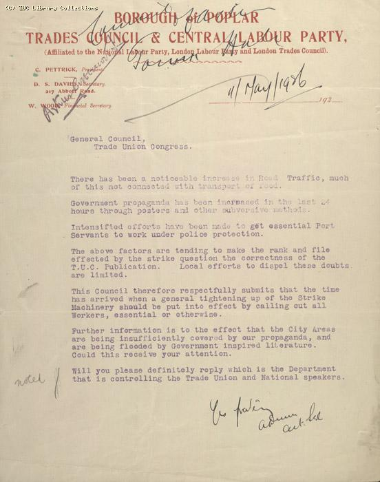 Letter - Borough and Poplar Trades Council & Central Labour Party, 11 May 1926