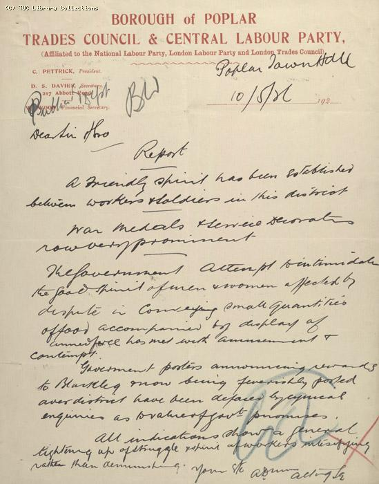 Letter - Borough and Poplar Trades Council & Central Labour Party, 10 May 1926