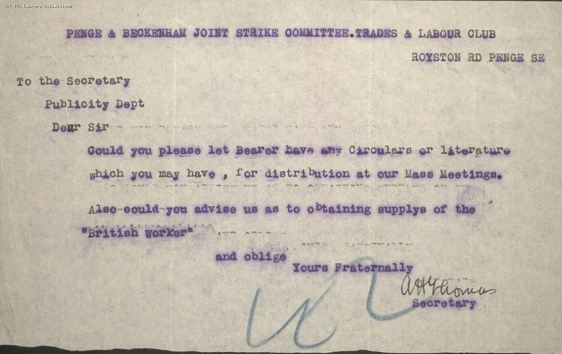 Letter - Penge & Beckenham Joint Strike Committee Trades and Labour Club, n.d.