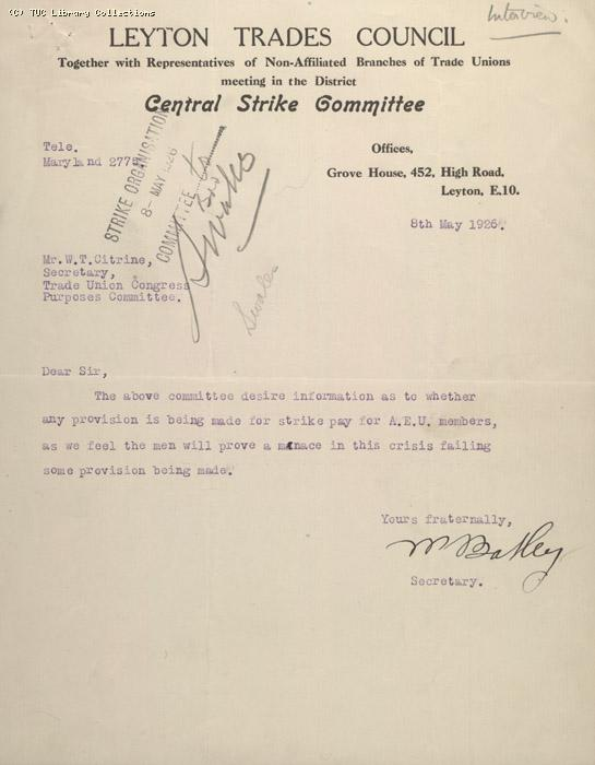 Leyton Trades Council, 8 May 1926