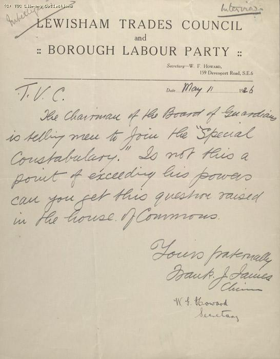 Letter - Lewisham Trades Council and Borough Labour Party, 11 May 1926 (2)