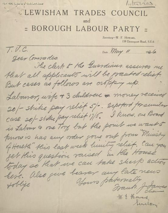 Letter - Lewisham Trades Council and Borough Labour Party, 11 May 1926 (1)