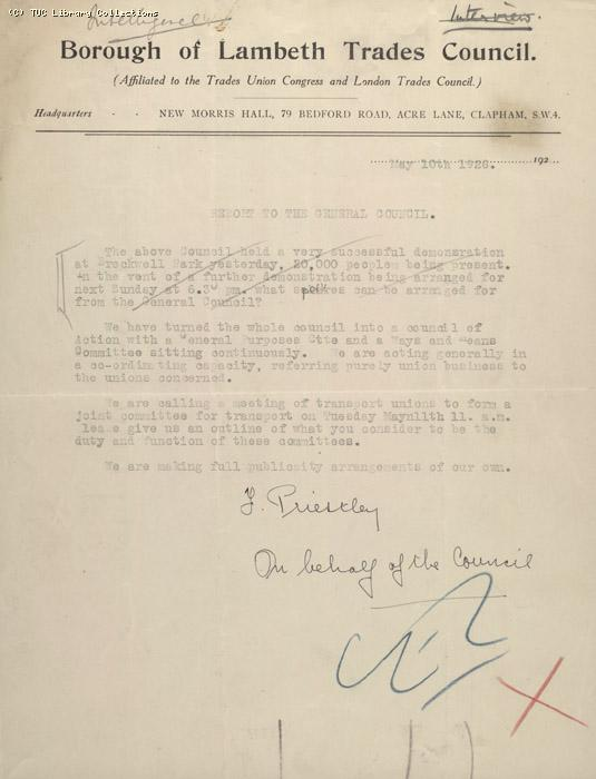 Letter - Borough of Lambeth Trades Council, 10 May 1926