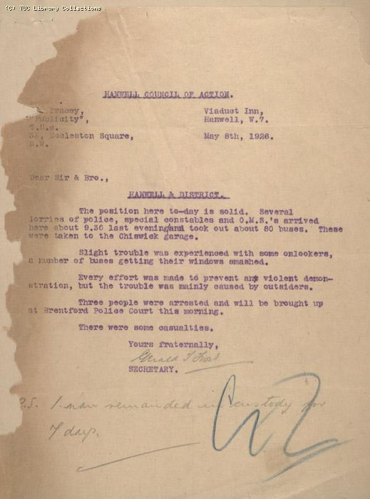 Letter - Hanwell Council of Action, 8 May 1926