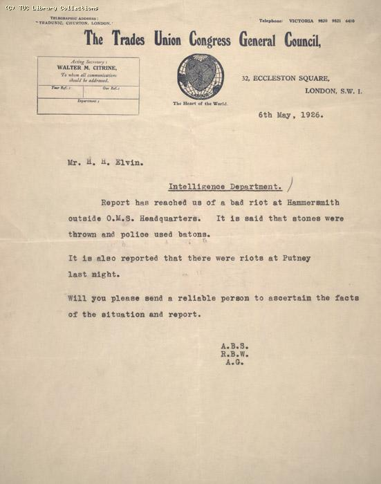 Letter - TUC to Mr. H. |H. Elvin, Hammersmith, 6 May 1926