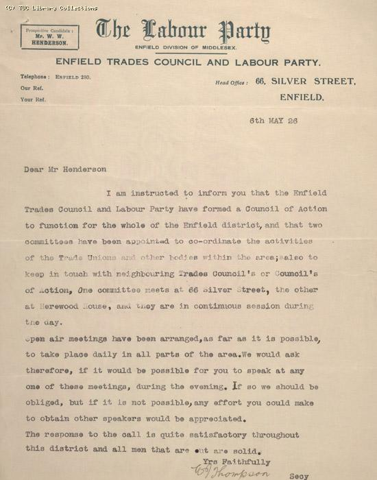 Letter - The Labour Party, Enfield Division, 6 May 1926