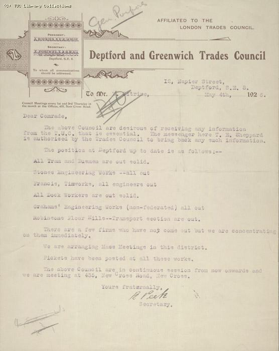 Letter - Deptford and Greenwich Trades Council, 6 May 1926