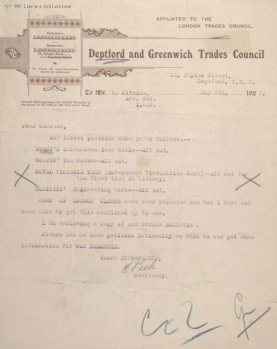 Letter - Deptford and Greenwich Trades Council, 5 May 1926