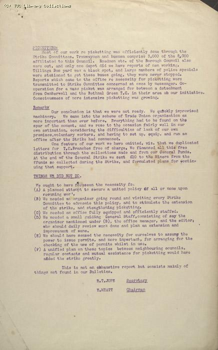 Report - Camberwell Trades Council, 3-12 May 1926