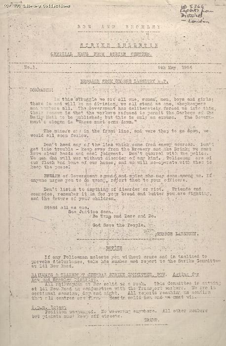 Strike Bulletin No.1 - Bow and Bromley, 6 May 1926