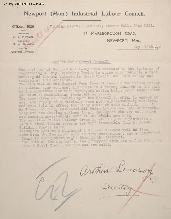 Letter - Newport Industrial Committee, Report for General Council, 11 May 1926