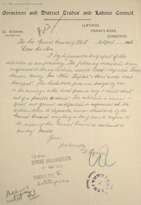 Letter - Gorseinon and District Trades and Labour Council, 4 April 1926