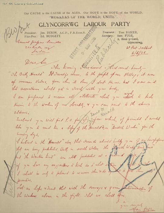 Letter - Glyncorrwg Labour Party, 6 May 1926