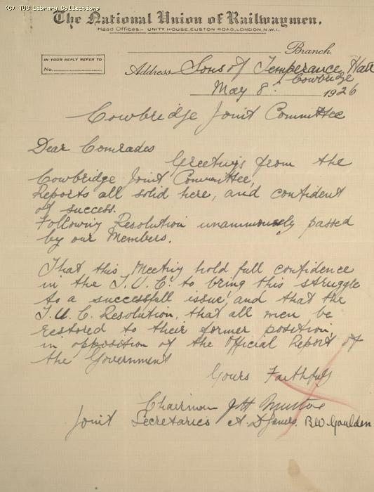 Letter - NUR, Cowbridge Joint Committee, 8 May 1926