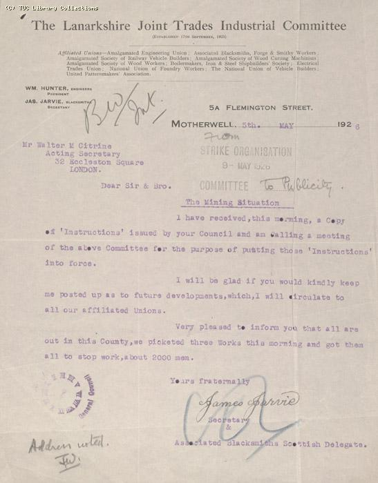 Letter - The Lanarkshire Joint Trades Industrial Committee, 5 May 1926