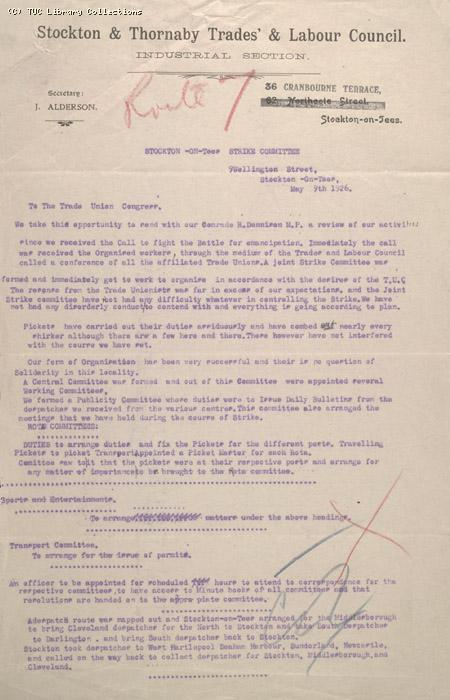 Letter - Stockton and Thornaby Trades & Labour Council, 9 May 1926