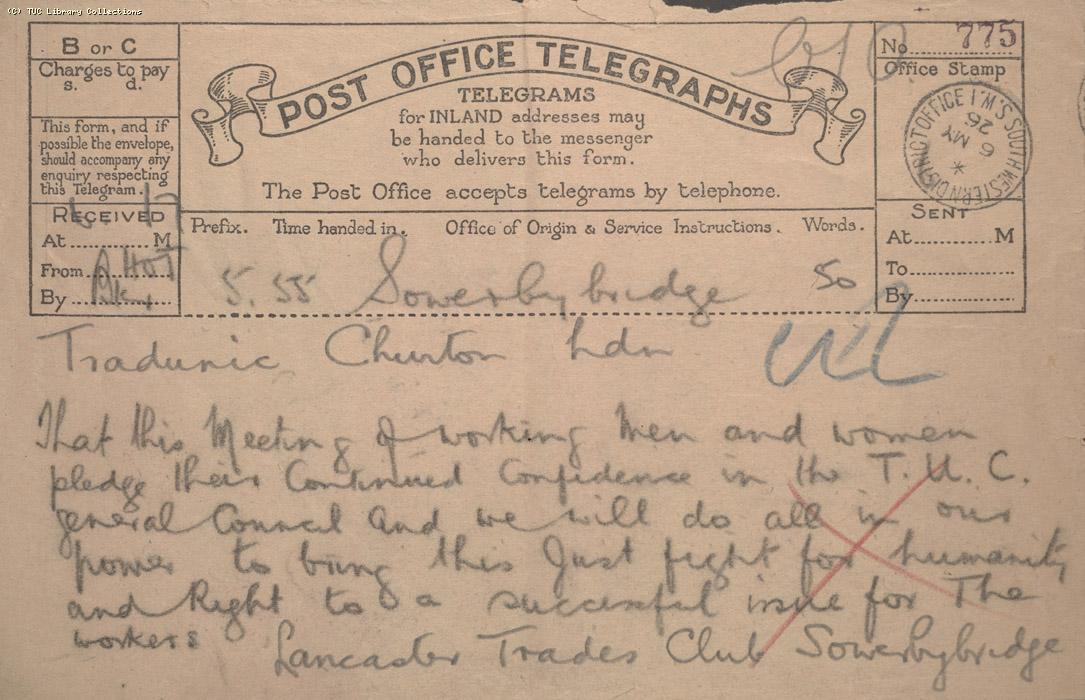 Telegram - Sowerby Bridge, 6 May 1926